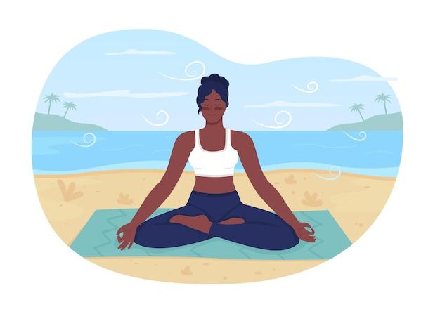 Banner da web em 2d de relaxamento de praia de verão, pôster