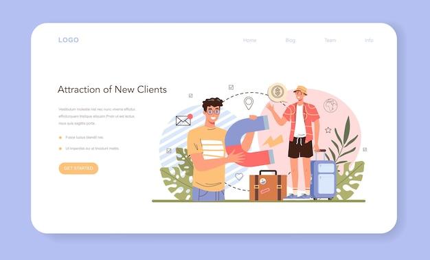 Banner da web especialista em turismo ou agente de viagens na página de destino atraindo novos clientes