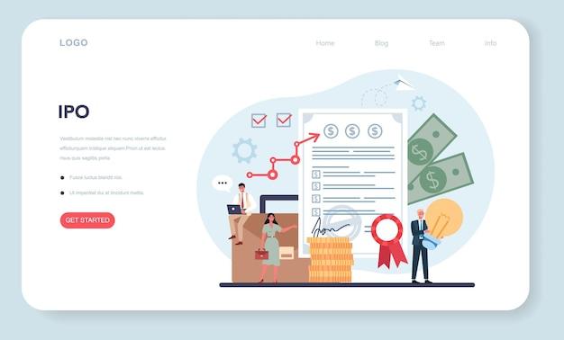 Banner da web especializado em ofertas públicas iniciais ou página de destino