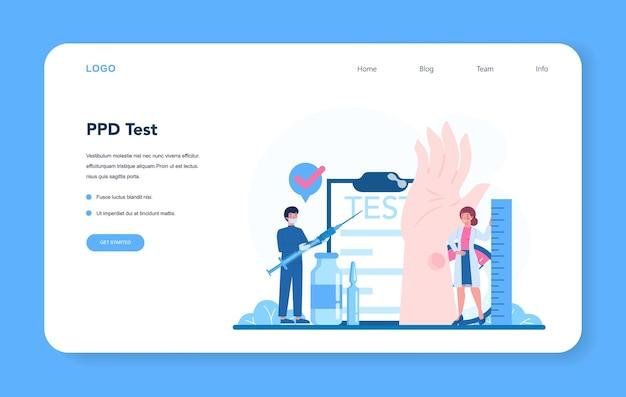 Banner da web especializado em tuberculose ou conjunto de páginas de destino
