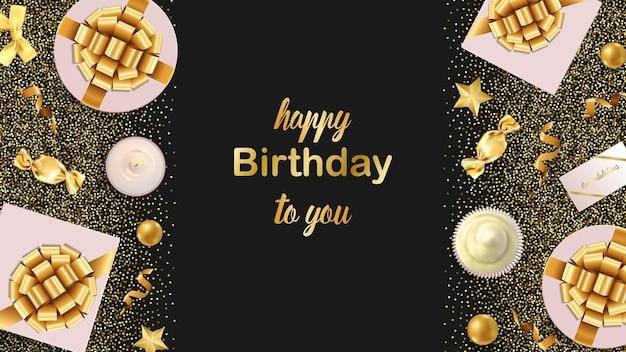 Banner da web happy birthday to you com modelo de itens festivos de ouro para cartões de aniversário