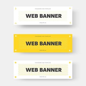 Banner da web horizontal branco e amarelo de vetor com texto preto. projeto de layout com setas, losango e círculos no fundo. modelo retangular para publicidade