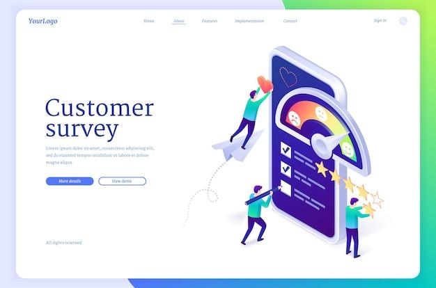 Banner da web isométrica da página de destino para pesquisa de cliente