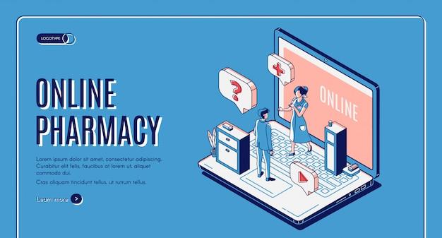 Banner da web isométrica de farmácia on-line