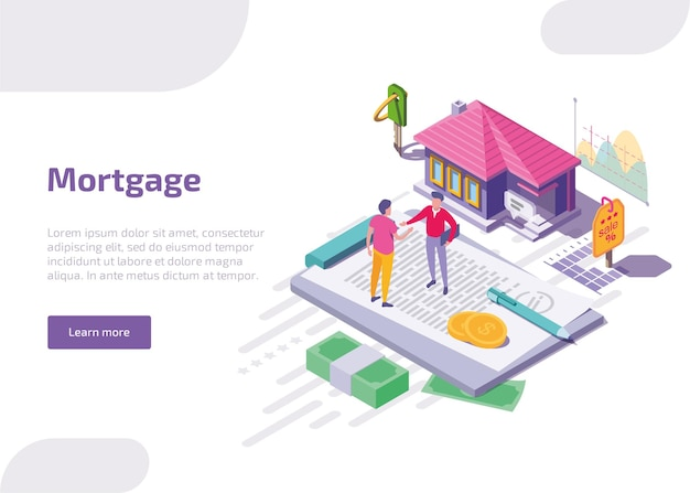 Banner da web isométrica de hipoteca.