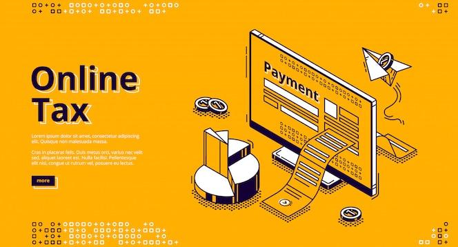 Banner da web isométrica de imposto on-line