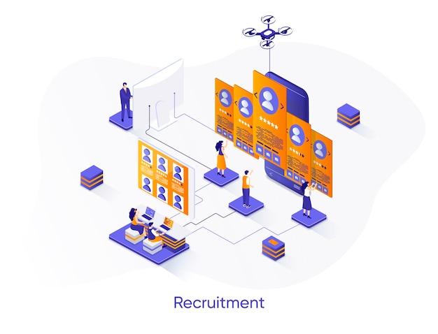 Banner da web isométrica de recrutamento.