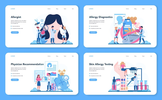 Banner da web ou conjunto de páginas de destino alergistas.