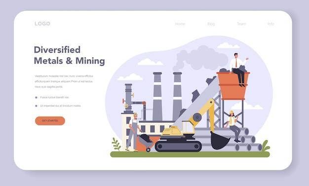 Banner da web ou conjunto de páginas de destino da indústria de metais não ferrosos e mineração