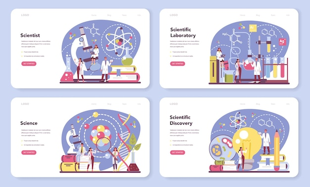Banner da web ou conjunto de páginas de destino para cientistas