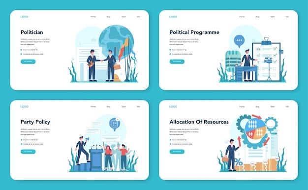 Banner da web ou conjunto de páginas de destino para políticos