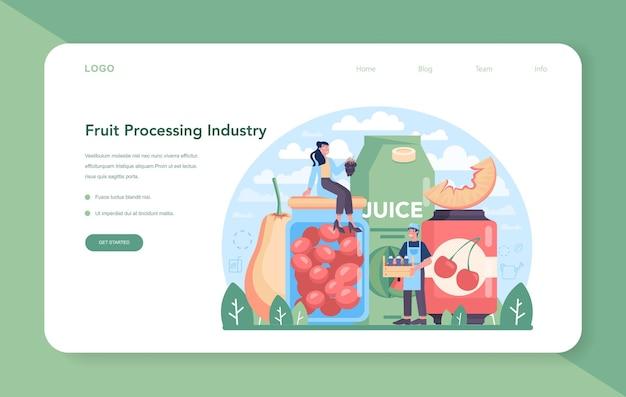 Banner da web ou página de destino da indústria de cultivo e processamento de frutas