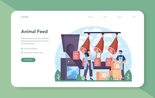 Banner da web ou página de destino da indústria de forragens. alimentos para produção de animais de estimação