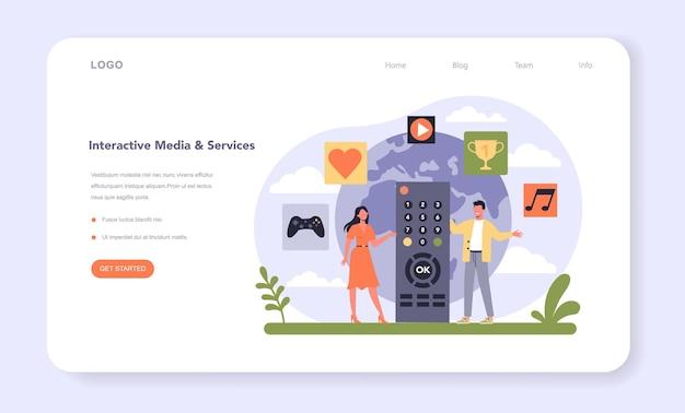Banner da web ou página de destino da indústria de mídia e entretenimento Vetor Premium