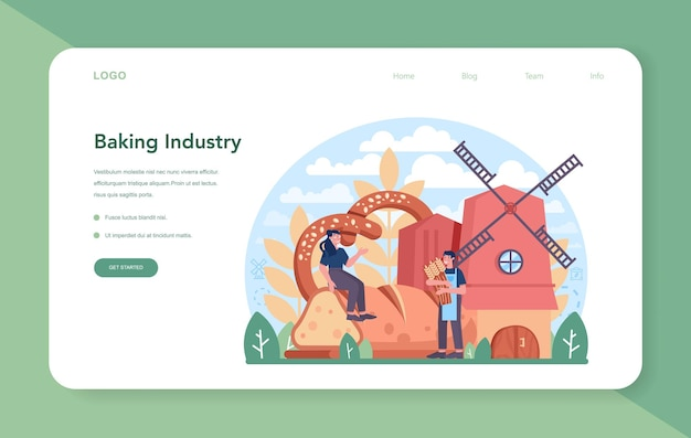 Banner da web ou página de destino da indústria de panificação. processo de cozimento de pastelaria