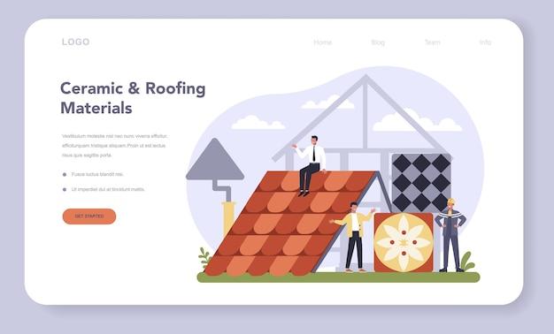 Banner da web ou página de destino da indústria de produtos de construção