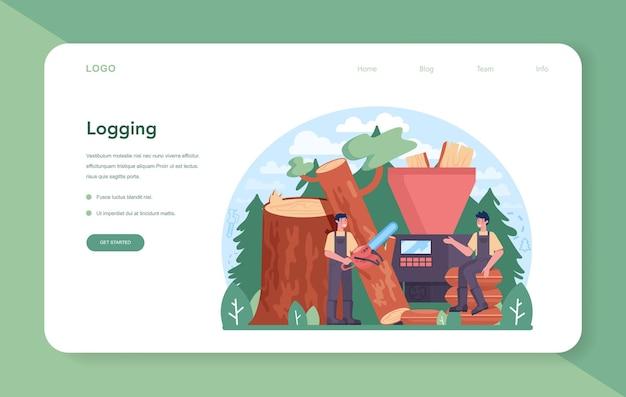 Banner da web ou página de destino da indústria madeireira e da produção de madeira. exploração madeireira