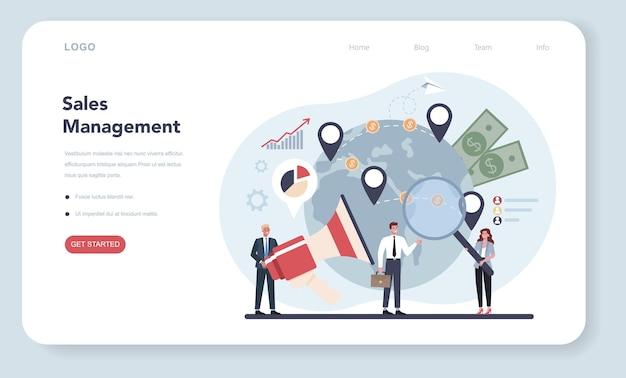 Banner da web ou página de destino de conceito de gerente de vendas ou diretor comercial