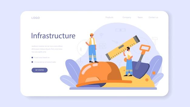 Banner da web ou página de destino de construção de casa