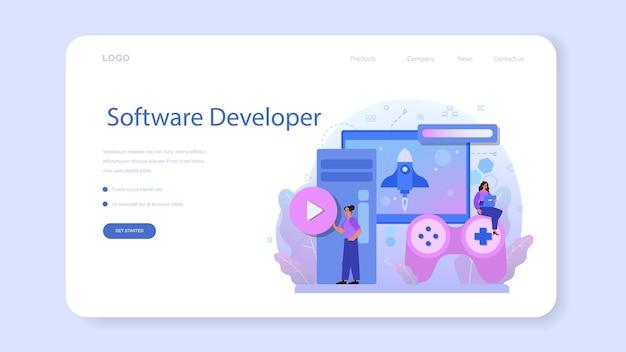 Banner da web ou página de destino de desenvolvimento de jogos