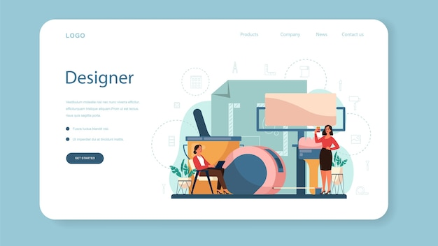 Banner da web ou página de destino de designer de interiores profissional