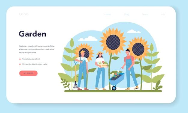 Banner da web ou página de destino de jardinagem