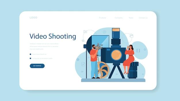 Banner da web ou página de destino de produção de vídeo ou cinegrafista. cinema e indústria do cinema. criação de conteúdo visual para mídias sociais com equipamentos especiais.