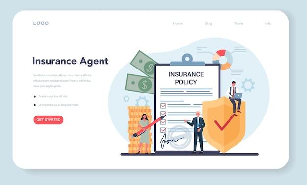 Banner da web ou página de destino do agente de seguros