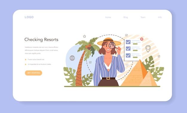 Banner da web ou página de destino do agente de turismo. agência de organização de férias.