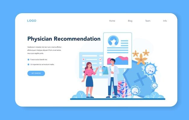 Banner da web ou página de destino do alergista. recomendação médica. d