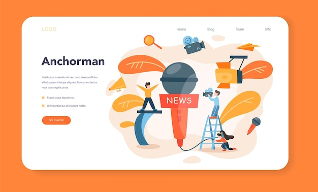 Banner da web ou página de destino do apresentador de tv