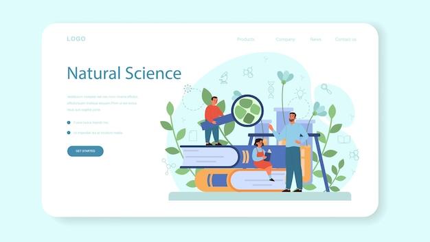 Banner da web ou página de destino do assunto da escola de biologia