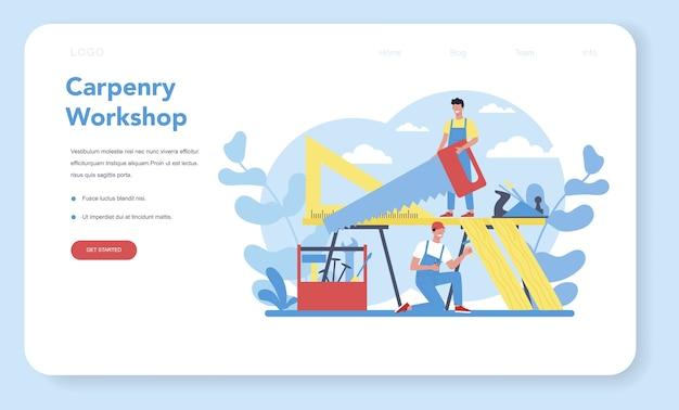 Banner da web ou página de destino do conceito de marceneiro ou carpinteiro