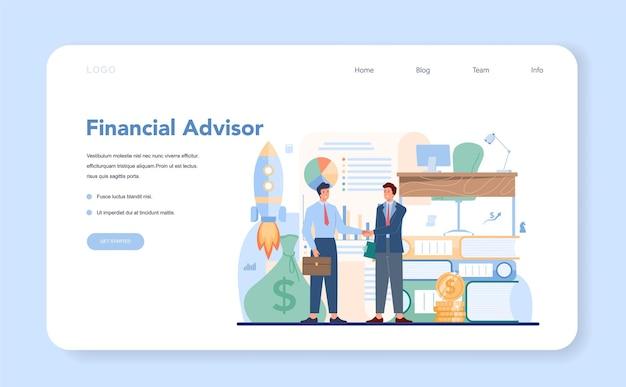Banner da web ou página de destino do consultor financeiro
