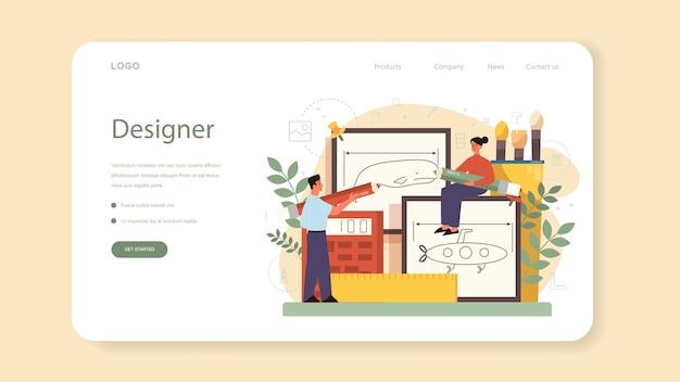 Banner da web ou página de destino do designer industrial. artista criando objeto de ambiente moderno. projeto de usabilidade do produto, desenvolvimento de fabricação.