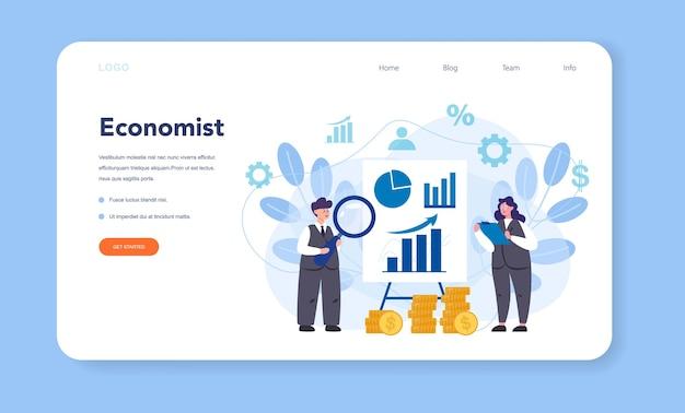 Banner da web ou página de destino do economist. cientista profissional estudando economia e dinheiro.