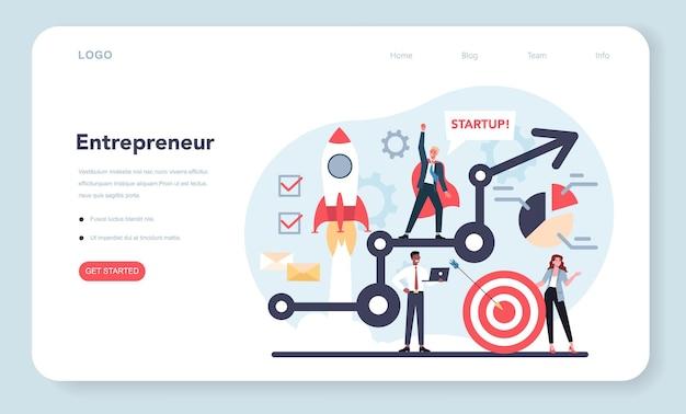 Banner da web ou página de destino do empreendedor. ideia de negócio lucrativo, estratégia e realização.