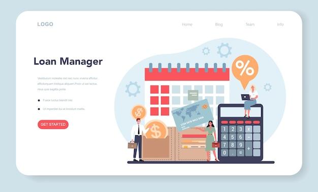 Banner da web ou página de destino do gerente de empréstimos