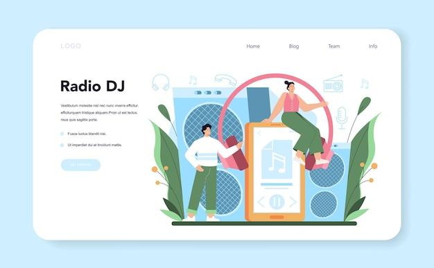 Banner da web ou página de destino do host de rádio