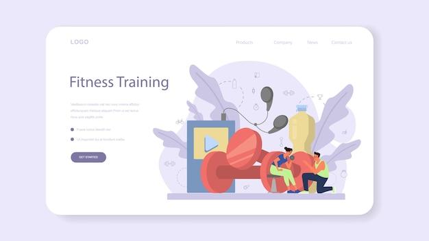 Banner da web ou página de destino do instrutor de fitness