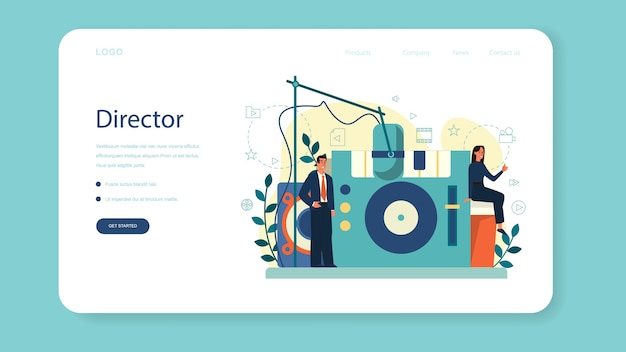 Banner da web ou página de destino do produtor. produção cinematográfica e musical. idéia de profissionais e pessoas criativas. equipamento de estúdio.