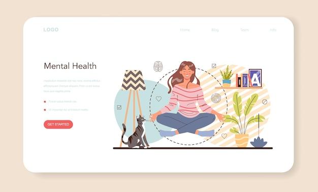 Banner da web ou página de destino do psicólogo. diagnóstico de saúde mental.