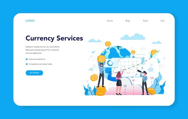 Banner da web ou página de destino do serviço de câmbio de moeda
