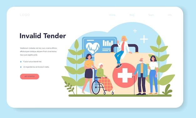 Banner da web ou página de destino do serviço de enfermagem
