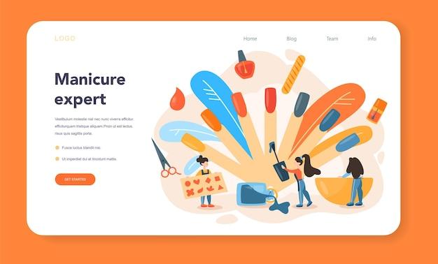Banner da web ou página de destino do serviço de manicure