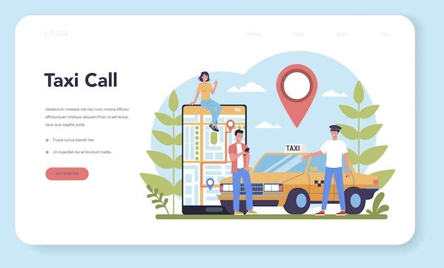 Banner da web ou página de destino do serviço de táxi