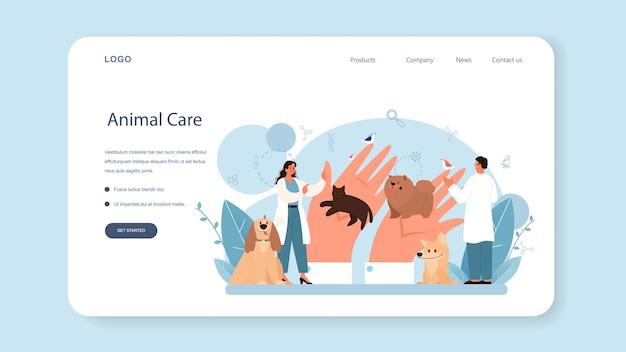 Banner da web ou página de destino do veterinário de animais de estimação. médico veterinário verificando