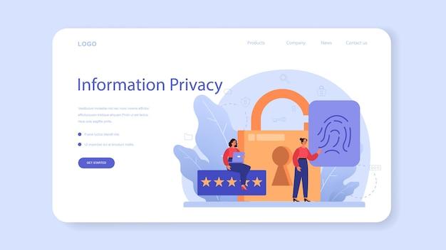 Banner da web ou página de destino especialista em segurança virtual ou cibernética