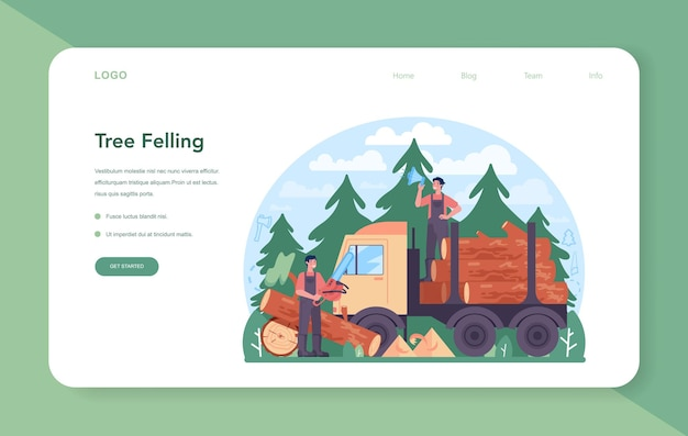 Banner da web ou página de destino para a indústria madeireira e produção de madeira