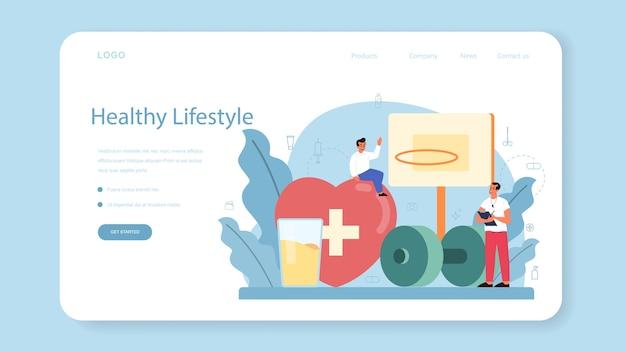 Banner da web ou página de destino para aulas de estilo de vida saudável